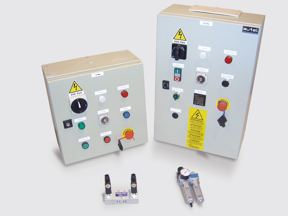 Electrical panels, solenoid valves and air filters for brake mechanisms